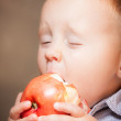 Cute baby boy eating red apple fruit — Stock Photo #47046981