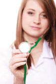 Woman doctor in lab coat with stethoscope — Stock Photo