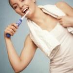 Girl brushing teeth. Dental care healthy teeth. — Stock Photo #47329421