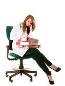 Overworked doctor woman with documents — Stock Photo
