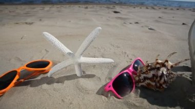 Starfish, shoes and glasses on Beach — Stock Video