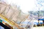 Fishing equipment. Closeup of white fishnet net outdoor — Stock Photo