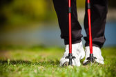 Nordic walking. Female legs hiking in the park. — Stock Photo