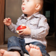 Little boy eating apple fruit at home — Stock Photo #48437769