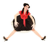 Pinup girl stylized like marionette — Stock Photo