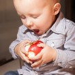 Little boy eating apple fruit at home — Stock Photo #48579155