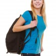 Portrait casual blond smiling girl female student with bag backpack — Stock Photo #48747523