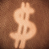 Dollar sign on brown leather background — Stock Photo