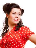 Portrét ženy s plakát make-up a účes. — Stock fotografie