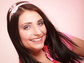 Childish young woman in pink. Longing for childhood. — Stock Photo