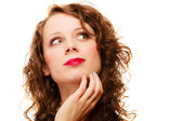Portrait pretty thoughtful woman curly hair — Stock Photo