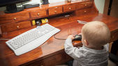 Little child playing on the computer — Stock Photo