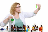 Chemist woman with chemical glassware flask — Stok fotoğraf