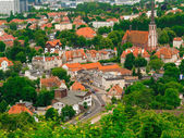 Aerial view from tower of district gdansk buildings — Stock Photo
