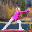 Teenage girl in tracksuit doing exercise on pier outdoor — Stock Photo #49547705