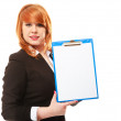 Business woman holds clipboard with empty blank. — Stock Photo #49547835