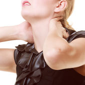 Closeup of woman suffering from back pain — Stock Photo
