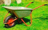 Garden metal wheelbarrow. — Stock Photo