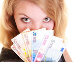 Woman holds euro currency money. — Stock Photo