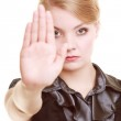 Businesswoman showing stop hand sign gesture — Stock Photo #49665439
