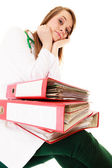 Overworked doctor woman with documents — ストック写真