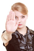 Businesswoman showing stop hand sign gesture — Stockfoto