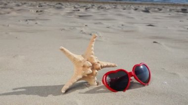 Starfish  and sunglasses glasses on the sandy beach — Stock Video