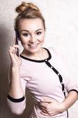 Empresária, falando no celular — Foto Stock