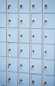 Closeup blue deposite boxes with keys — Stock Photo