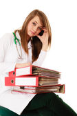 Overworked doctor woman with documents — Foto Stock