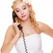 Woman unhappy bride talking on phone — Stock Photo #50376661