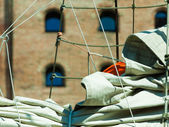 Detail of sailing boat — Stock Photo