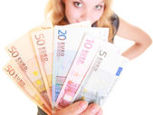 Woman holds euro currency money — Stock Photo