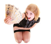 Woman holding polish banknote — Stock Photo
