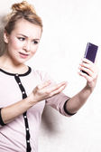 Businesswoman texting reading sms on smartphone — Stockfoto
