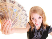 Business woman holding polish currency money banknote. — Stock Photo