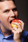 Happy man apple fruit — Stock Photo