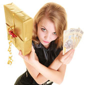 Woman with box and polish banknote — Stock Photo