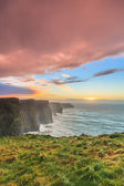 Cliffs of Moher at sunset in Co — Stock Photo