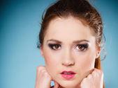 Teen girl on blue — Stock Photo