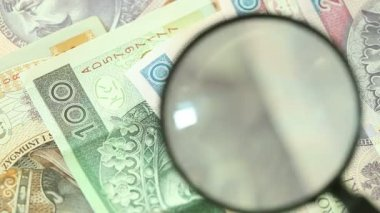Polish zloty banknotes with magnifying glass — Stock Video
