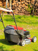 Gardening. Mowing green lawn with red lawnmower — Stok fotoğraf
