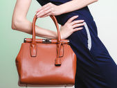 Elegant outfit. Brown leather bag in female hand — Fotografia Stock