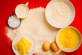 Preparation for baking, bake ingredients. — Stock Photo