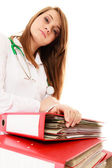 Paperwork. Overworked doctor woman with documents — ストック写真
