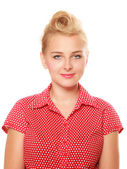 Pin-up blond girl with retro hair bun isolated — Stock Photo