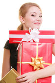 Holidays love happiness concept - girl with gift boxes — Photo