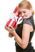Holidays love happiness concept - girl with gift box — Stock Photo