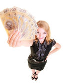 Business woman holding polish currency money banknote. — Stockfoto