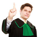 Law. Man lawyer in polish gown counting on fingers — Stockfoto